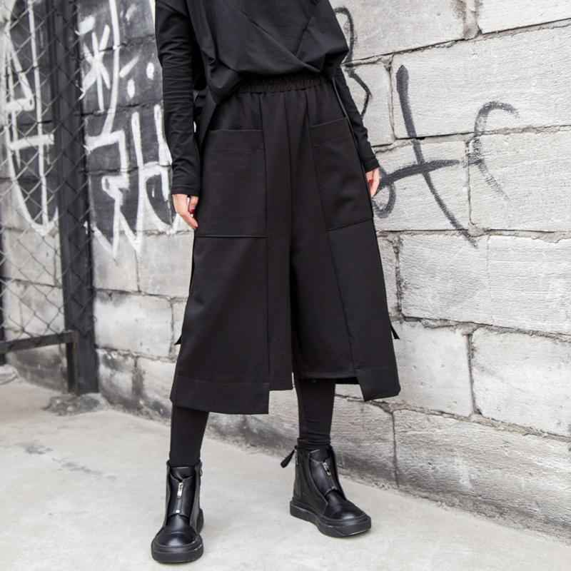 阔腿裤女2019春秋欧美新款七分裤休闲宽松直筒裤不规则大口袋女装