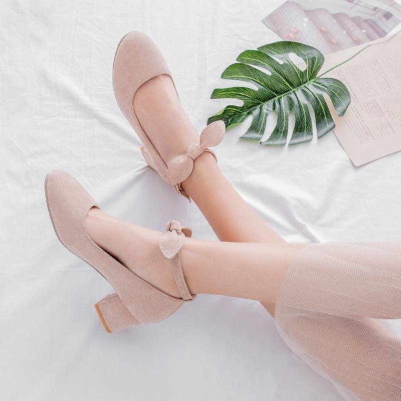 中跟单鞋女春季粗跟少女高跟鞋一字扣学生蝴蝶结小清新百搭女鞋子