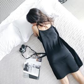 宽松黑色睡衣女大码吊带睡裙夏季薄款冰丝绸带胸垫可外穿性感裙子