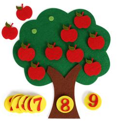 不织布苹果树认识1-10数字幼儿园数学区玩具自制数数益智教具材料