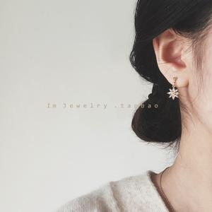 韩国简约气质小花朵耳环女锆石耳钉防过敏耳坠2019新款潮银针耳饰