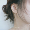 Simple temperament 18K Cover with gold leaf bow Pearl Ear Studs Korea Network Anti allergy Earrings Earrings
