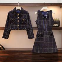 2019年秋季新款大码女装网红胖妹妹洋气连衣裙小香风两件套装减龄