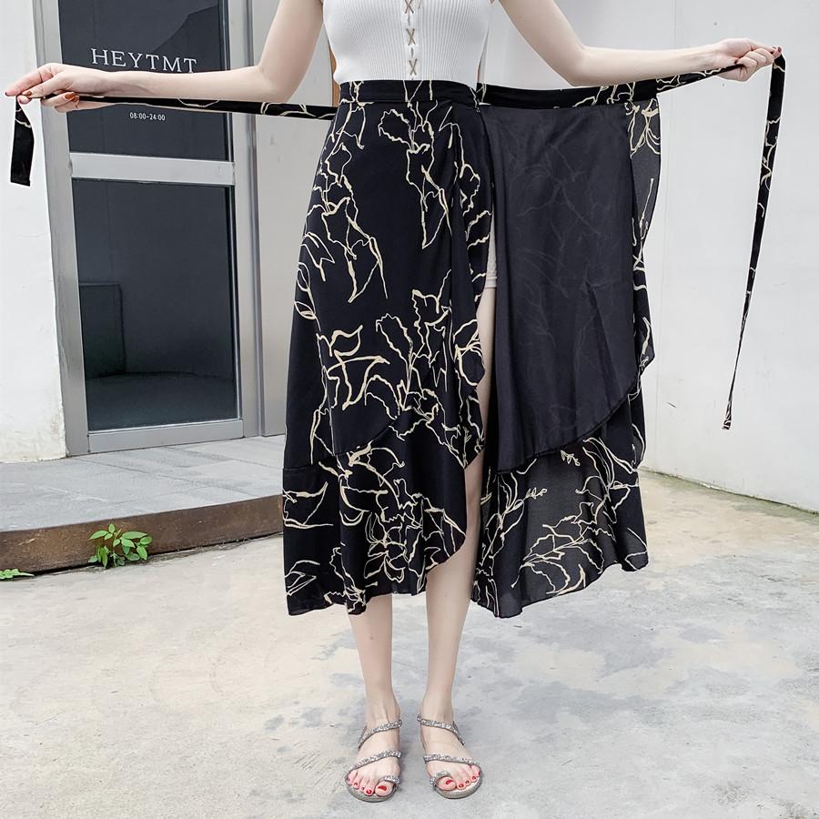 實拍一片式半身裙夏系帶中長荷葉沙灘不規則抖音仙女魚尾雪紡碎花