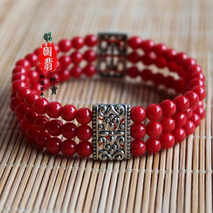 Red Coral Bracelet with multi row rings and retro national style
