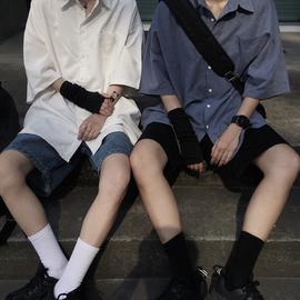 白色衬衫女春夏2021新款韩版ins复古蓝色上衣宽松短袖衬衣情侣潮