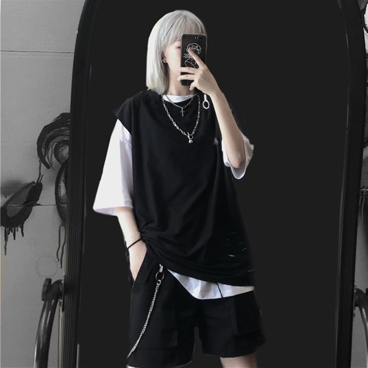 夏季2021年新款韩版ins黑色潮t恤