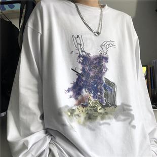 秋裝韓版ins原宿風復古水墨畫個性印花上衣寬鬆百搭長袖T恤男女潮