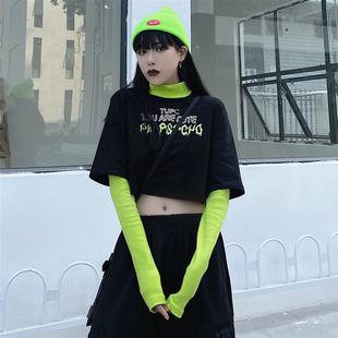 長袖t恤女夏季2020新款韓版ins撞色印花寬鬆假兩件短款高領上衣潮