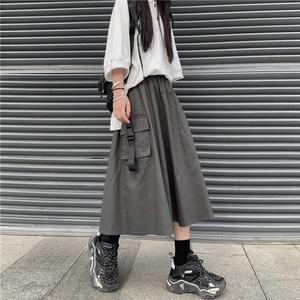 半身裙女2020新款夏季韩版ins百搭中长款工装裙子学生高腰伞裙潮