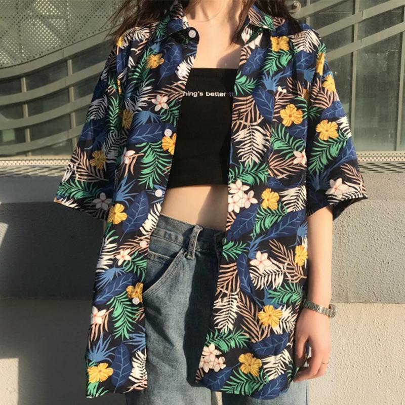 2020新款夏季韩版ins港风复古碎花雪纺衬衣上衣宽松短袖衬衫女潮
