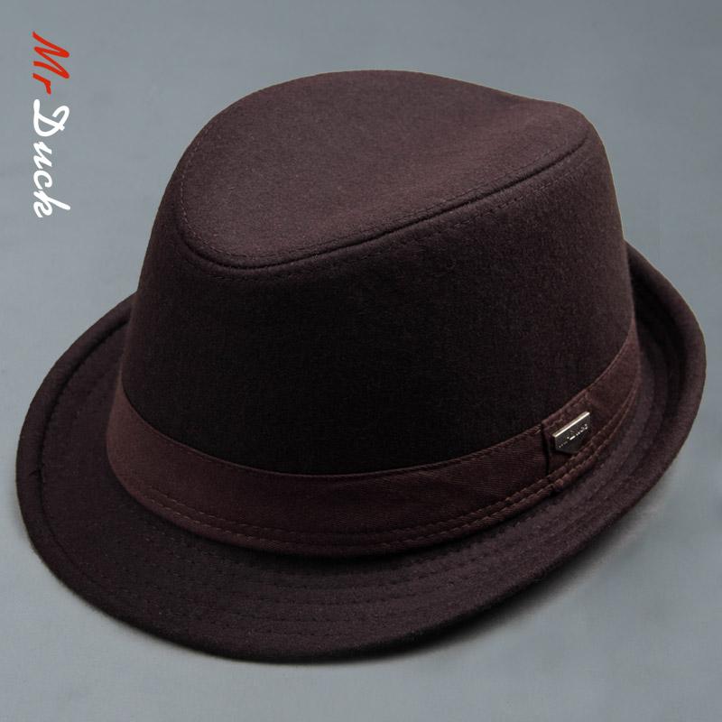 mrduck冬季帽子男韩版潮时尚绅士男士帽子大头围爵士帽英伦礼帽男