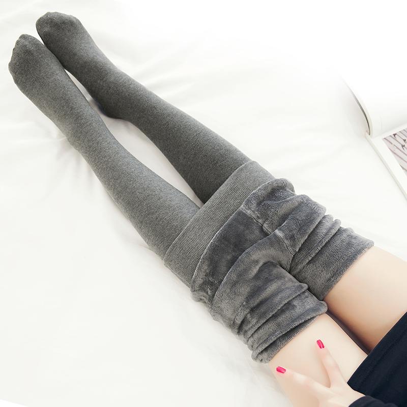 冬季加厚加绒连裤袜棉 打底裤女灰色连体美腿袜连脚踩脚保暖显瘦