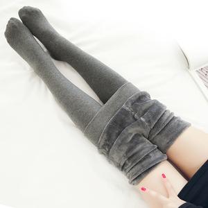 冬季加厚加絨連褲襪棉 打底褲女灰色連體美腿襪連腳踩腳保暖顯瘦