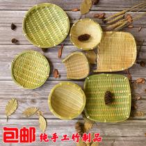 竹編制品家用籃子收納筐饅頭水果竹簍小簸箕提籃竹匾創意裝飾籮筐