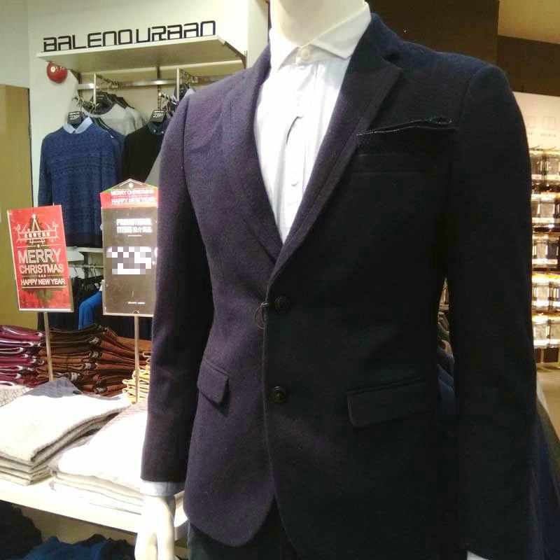 班尼路urban羊绒西装外套男 商务休闲韩版修身冬款小外套85536507