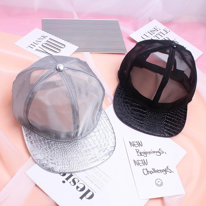 韩版新款网纱网眼棒球帽平沿帽男女潮时尚个性透气嘻哈帽遮阳帽子