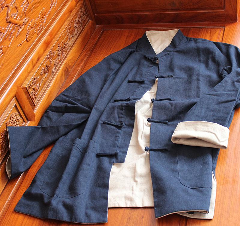 棉麻唐装双面可以穿 外套休闲服饰太极服 居士服中国风 加肥加大