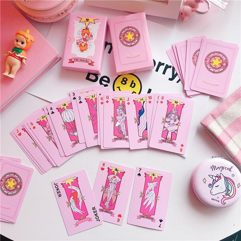 Девушка сердце розовый мультфильм животных переполнение разнообразие сакура магия передний покер мягкий росток игра бумага карты творческий подарок