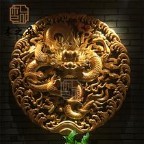 东阳木雕 玄关中式龙头龙盘壁挂 酒店茶楼墙装饰金龙圆形单龙挂件