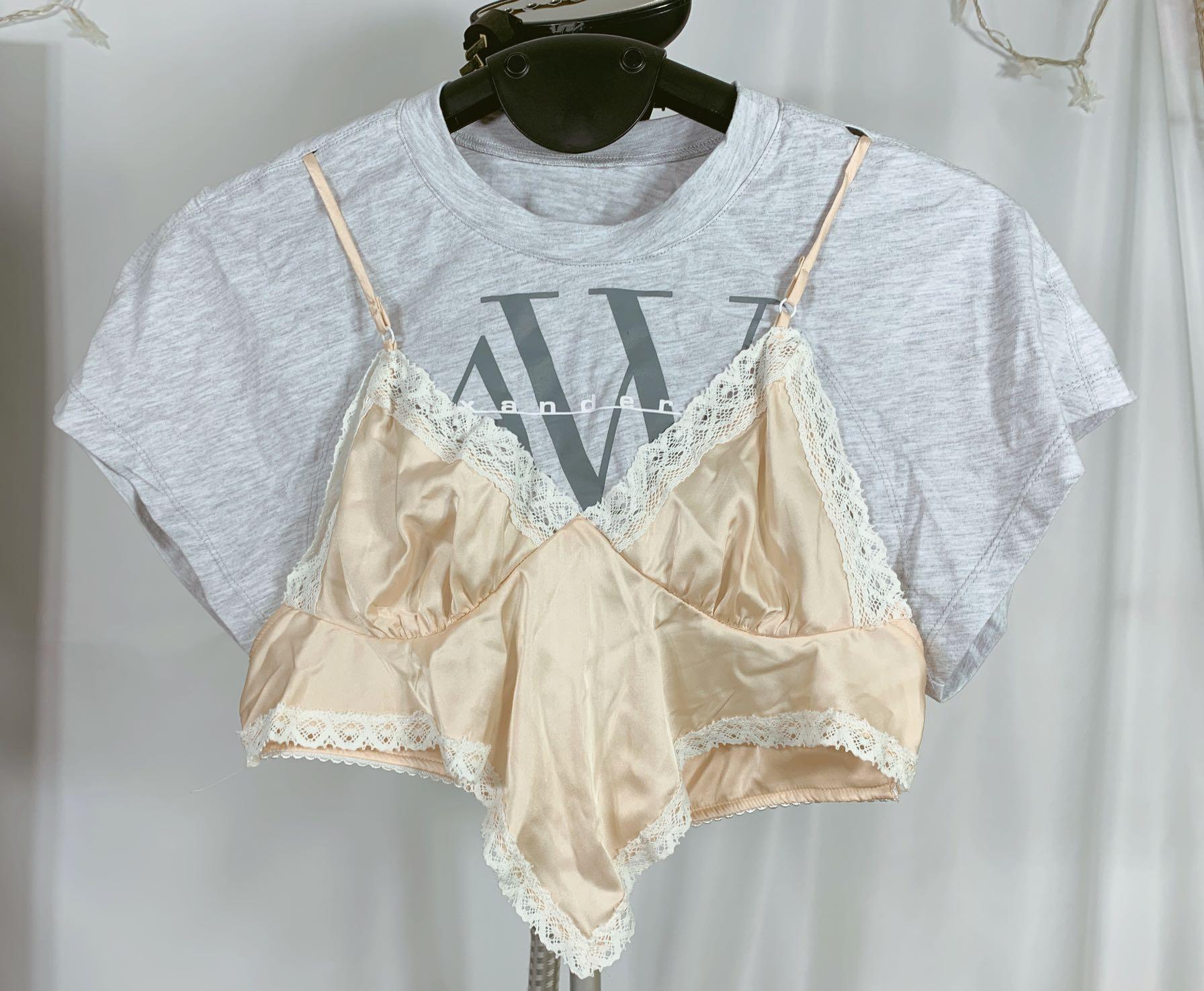2020夏季新款 AW大王 纯棉T恤拼接蕾丝花边吊带 假两件 短上衣T恤