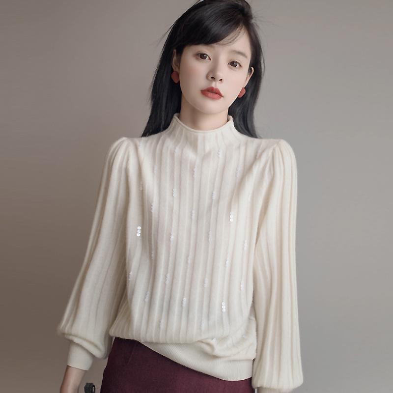 UMOOIE精品羊绒系列/ 温柔到骨子里。,手工珠片全羊绒针织衫