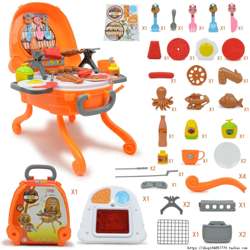 Children's BBQ toys set with simulated kitchen barbecue