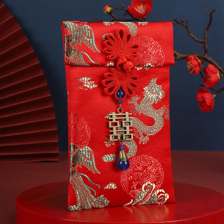 2021结婚布艺改口费红包袋个性创意婚礼高档可装1千元3万元利是封 Изображение 1