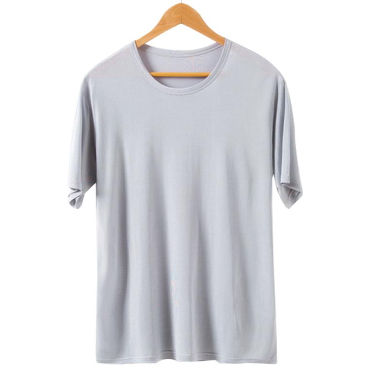真丝t恤男士短袖100%桑蚕丝打底衫老头衫汗衫大码灰色圆领体恤衫