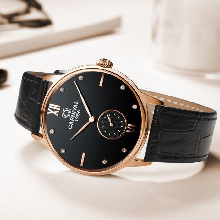 スイスカーニバル腕時計男女通用モデル中性時計超薄型防水シンプル学生本革石英男女表