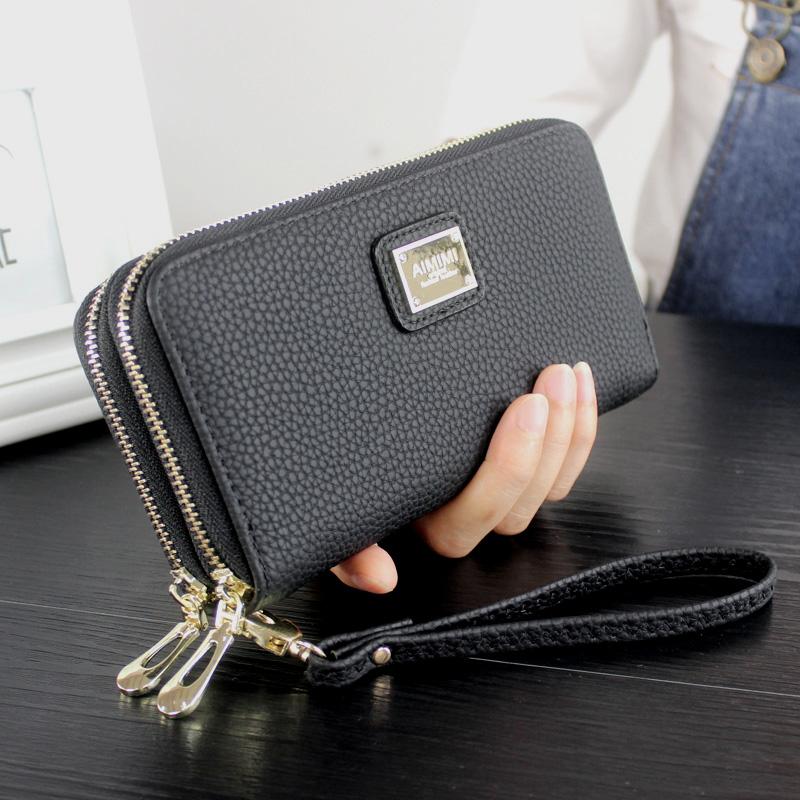2018春新款荔枝紋女士錢包韓版長款雙拉鏈包男式手拿包手機包皮夾