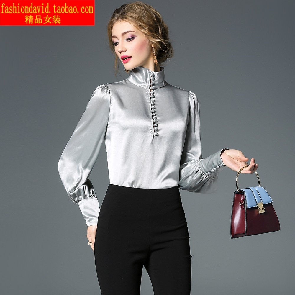1586 European and American style womens wear early autumn 2019 high collar Satin shirt solid color shirt long sleeve Pullover loose top