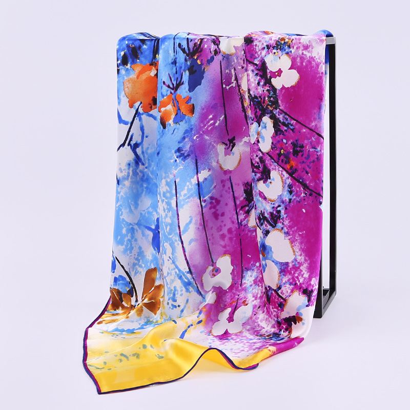 Hangzhou silk 100% mulberry silk crepe satin hand rolled edge 90cm high grade gift real silk satin square scarf
