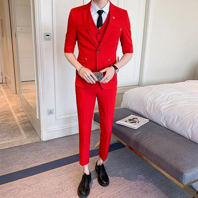 2019夏装新款男装中袖西服纯色英伦风中袖西装套装X17-1套装P190