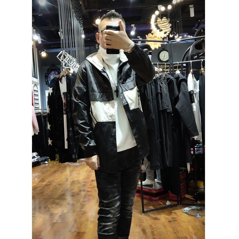原创设计师款秋季新款外套男潮流帅气时尚休闲连帽拼色夹克外套潮
