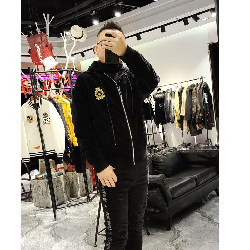 新升流派夹克外套男秋季新款黑色皇冠贴标连帽灯芯绒短款休闲上衣