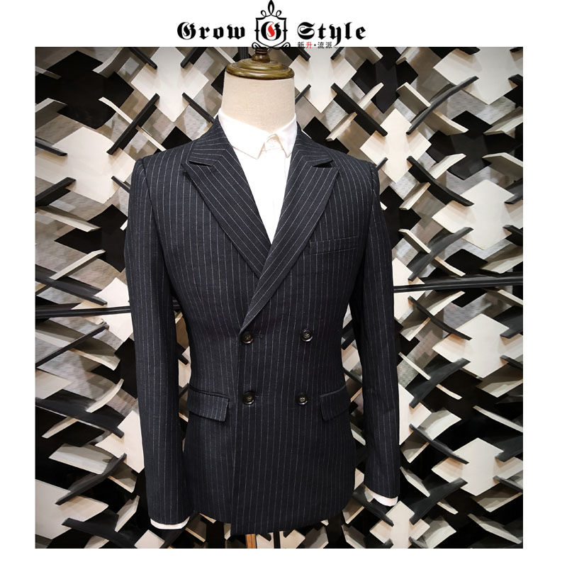 New style black vertical stripe double breasted slim fit for men in spring