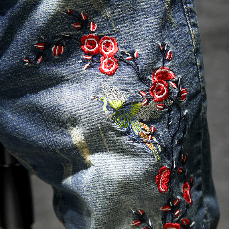 Guochao leisure plum blossom straight leg pants Chao Slim Fit Jeans Mens spring and summer mens pants large embroidery