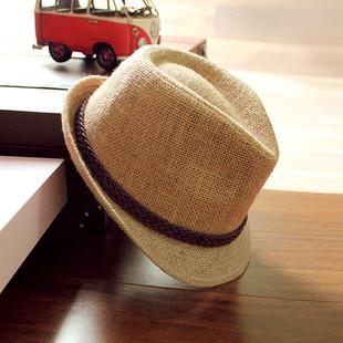 韩版 潮 度假帽子女防晒夏天复古鸭舌草帽英伦爵士礼帽海边沙滩男士