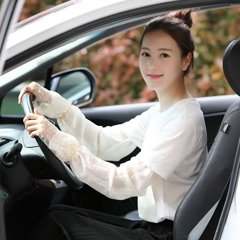 Summer sun protection sleeve womens lace long Chiffon thin outdoor driving UV resistant breathable arm sleeve