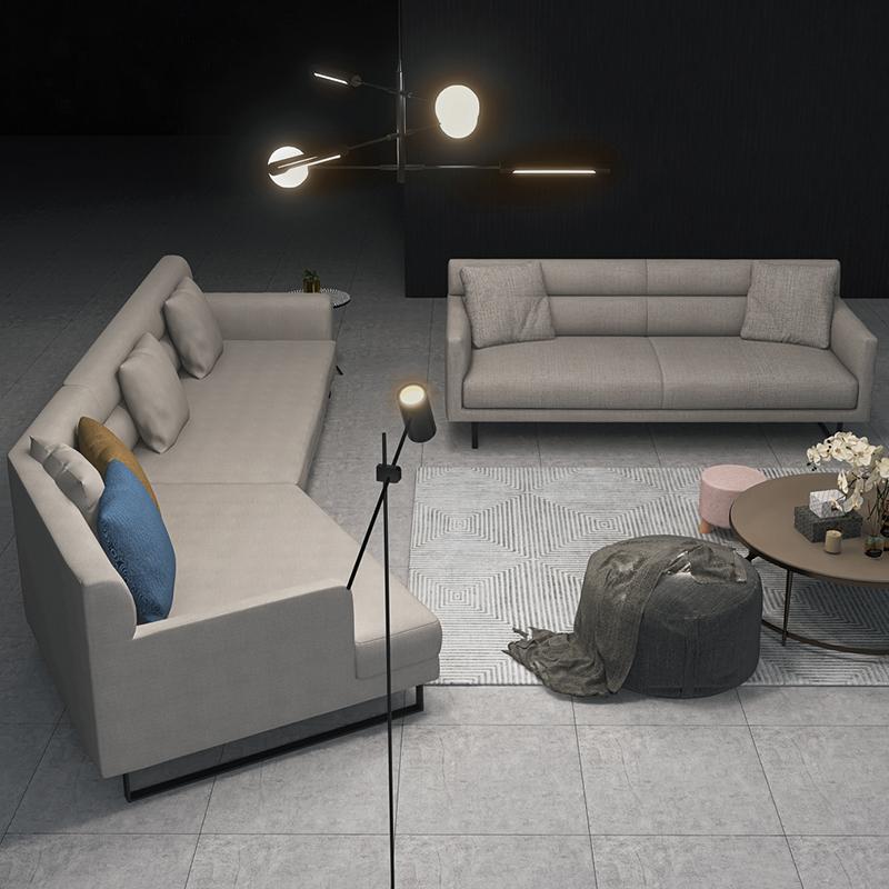 现代轻奢布艺沙发简约意式异形北欧小户型客厅转角弧形沙发家具