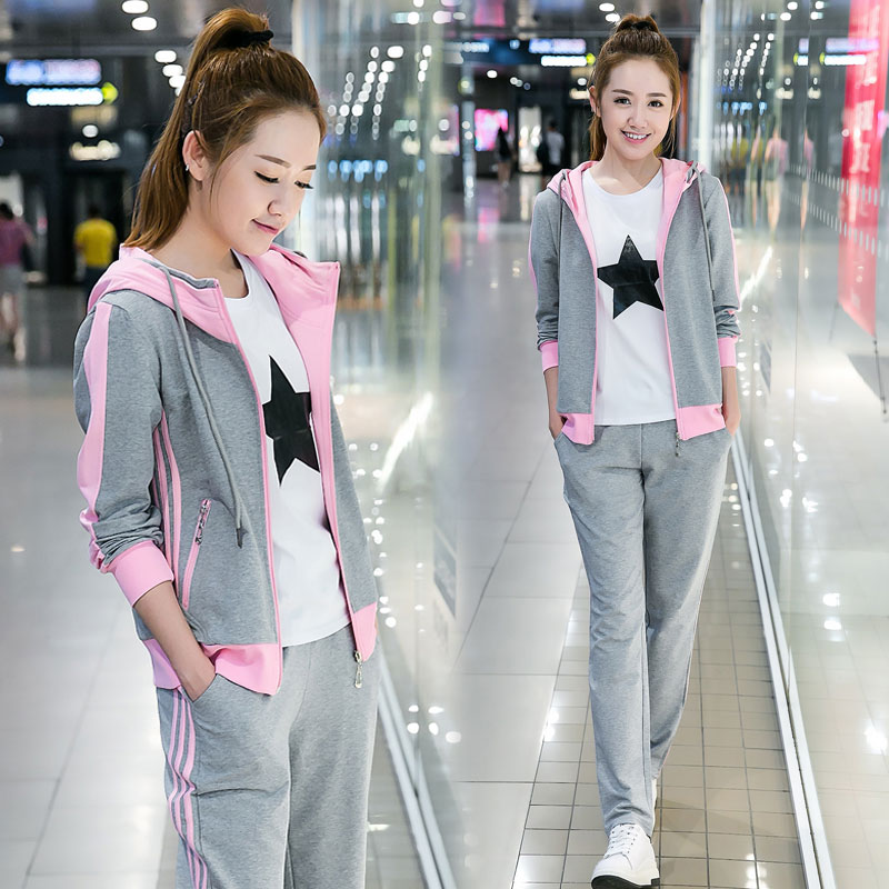 High school students sports suit, girls spring and autumn wear, Korean hooded sweater, two-piece set, junior high school students running casual wear