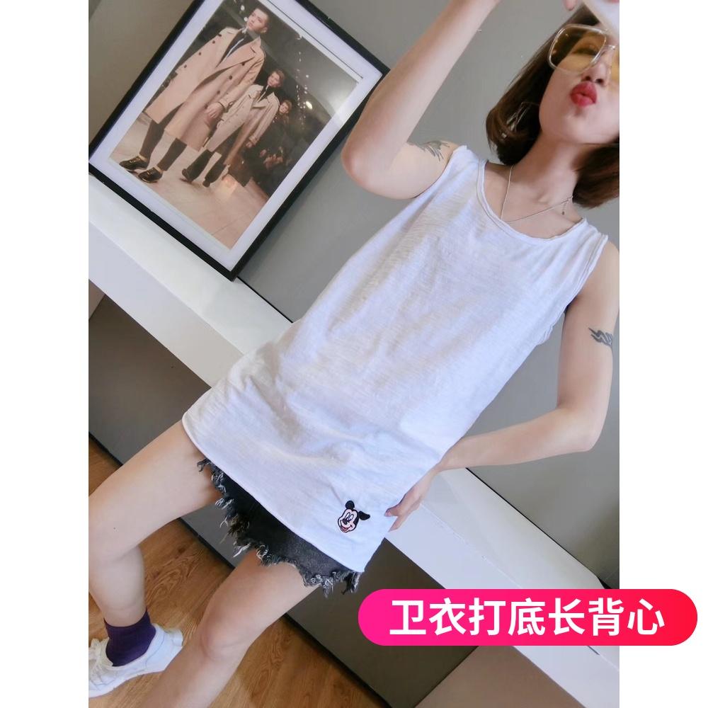 满68.00元可用29元优惠券韩版白色竹节棉无袖女刺绣工字t恤