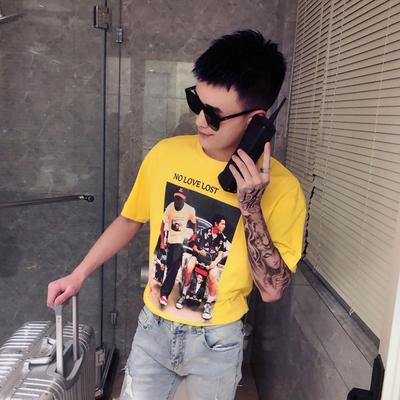 D72-特P35 2019夏季新款男圆领印花精神小伙短袖上衣