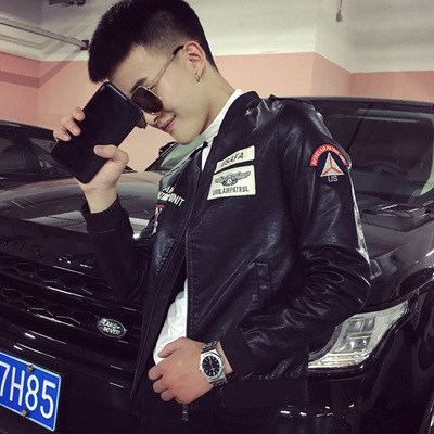 X703-P130 2019秋冬款夹克男短款PU机车皮衣青年韩版帅气修身外套