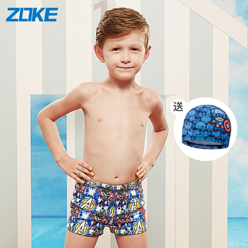 zoke洲克儿童游泳裤男孩时尚卡通可爱宝宝中大童男童平角泳裤
