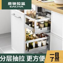 不锈钢双层缓冲厨房橱柜厨柜收纳调味篮置物拉篮304调味拉篮意驰