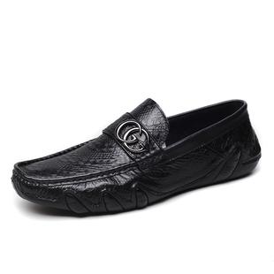 宝马新款真皮男士豆豆鞋鳄鱼纹男鞋