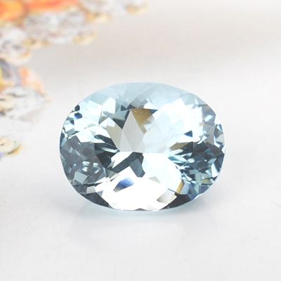 [fine naked stone] 3.89 carat fresh blue oval natural Aquamarine * National Inspection Certificate