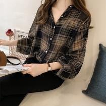 夏季女装批發韩版新款学生雪纺复古格子衬衣长袖宽松大码防晒衬衫